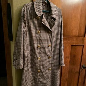 Free People Plaid Trench Coat